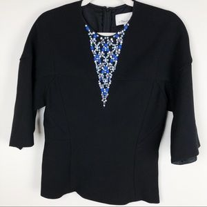 Philip Lim 3.1 Jewel Embellished Wool Silk Top